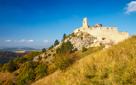 Medieval castle Cachtice, the historic residence of the famous Bathory Countess, central Europe, Slovakia.