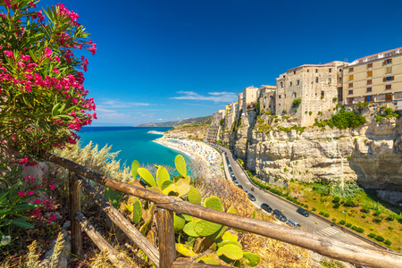 Tropea town and beach - Calabria, Italy, Europe. Stok Fotoğraf