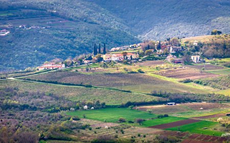 View of the mountainous landscape in the interior of the peninsula of Istria, Croatia, Europe.