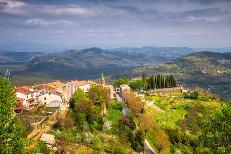 Old mediterranean town Motovun with the surrounding countryside on the peninsula of Istria, Croatia, Europe.