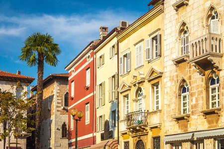 Town square with colorful facade of an old houses in Porec, Croatia, Europe. Stock Photo
