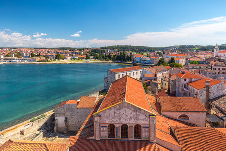 Top view on the historic center of Porec town and the sea, Croatia, Europe.