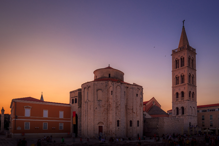 Beautiful sunset in the Croatian town of Zadar at the Mediterranean Sea, Europe.