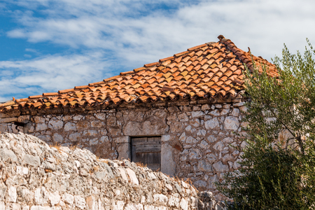 Detail of old stone house in a countryside in Croatia, Europe.