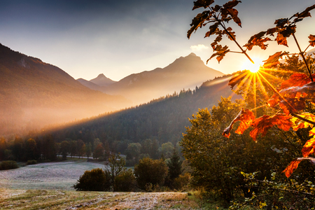 Sunrise in the mountains in the national park Mala Fatra, Slovakia.Europe.