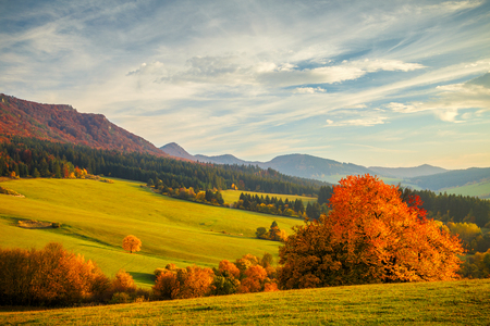 Colorful landscape in autumn, National Nature Reserve Sulov Rocks, Slovakia.