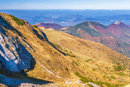 Mountainous country with valleys, the national park Mala Fatra in northern Slovakia, Europe. Imagens
