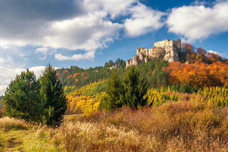 Autumn landscape with ruin of medieval castle Lietava near Zilina town, Slovakia, Europe.