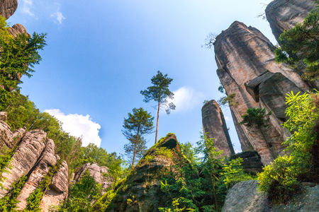 Rocky town in Adrspach - National Nature Reserve in the Czech Republic, Europe.