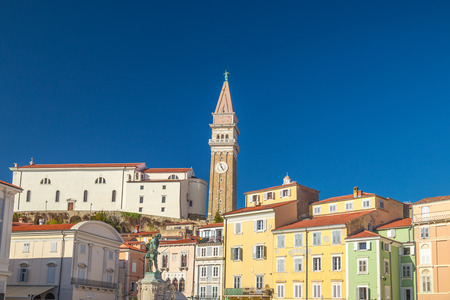 Buildings of Piran town on Adriatic sea, one of major tourist attractions in Slovenia, Europe. 写真素材