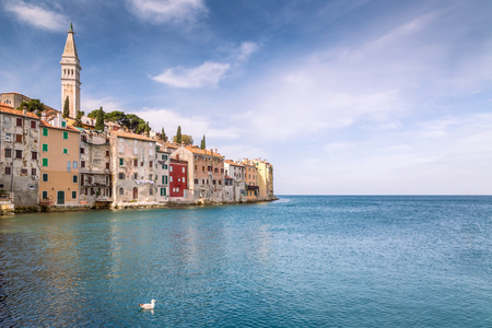 Rovinj on Adriatic sea in Croatia , Europe. The historic part of city Rovinj with the Church of Saint Euphemia. Stock Photo