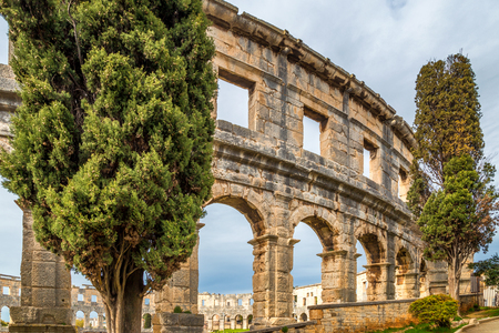 The Roman Arena in Pula, Croatia, Europe. Stok Fotoğraf