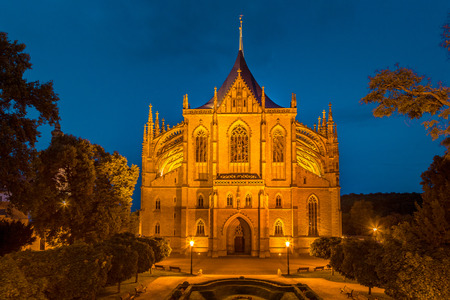 The Cathedral of St Barbara at night, Kutna Hora, Czech Republic, Europe. Reklamní fotografie