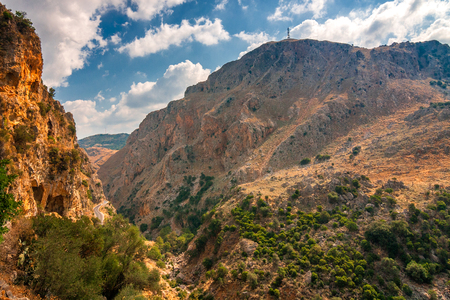 A wild mountain landscape near cave of Agia Sofia in the inland of Crete island, Greece, Europe. Stock Photo