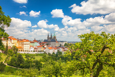 View of Prague Castle from park under The Petrin Hill, Czech Republic, Europe.