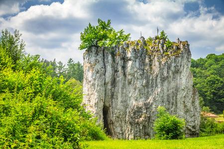 Rock formation Hrebenac near Sloupsko-sosuvska cave in the Moravian Karst cave system, Czech Republic, Europe.