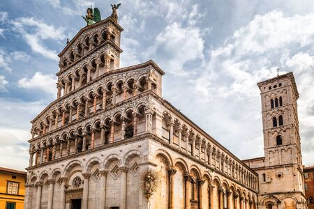 San Michele in Foro, a roman catholic basilica church in Lucca town, in an ancient city in the Tuscany region of Italy, Europe.