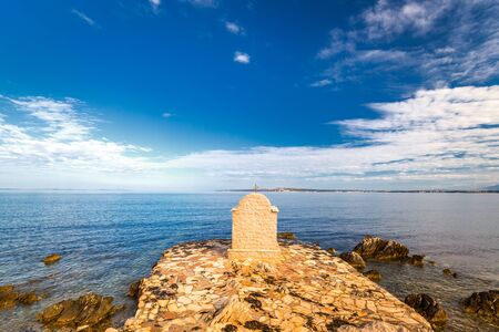 St Nicholas' Chapel on the shore of the Adriatic Sea. View from Privlaka village in the Zadar County of Croatia, Europe. Stock Photo