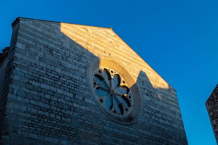 Detail of historical church building in Zadar town at sunset, Croatia, Europe.