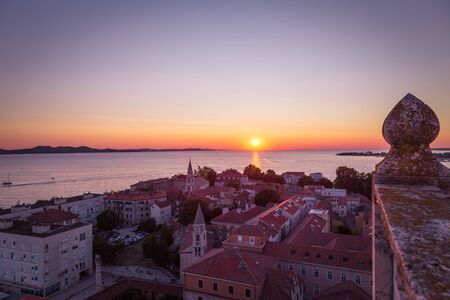 Beautiful sunset on the Adriatic Sea at the Croatian town of Zadar, Europe.