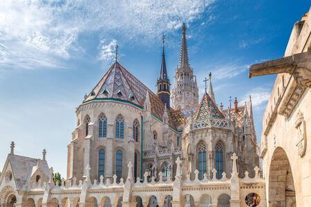 The Matthias Church in Budapest, Hungary, Europe. View from the Fishermans Bastion.