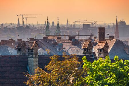 Top view of Budapest houses in sunrise, Hungary, Europe.