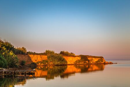 Sea landscape at sunrise near Privlaka village in Croatia, Europe.