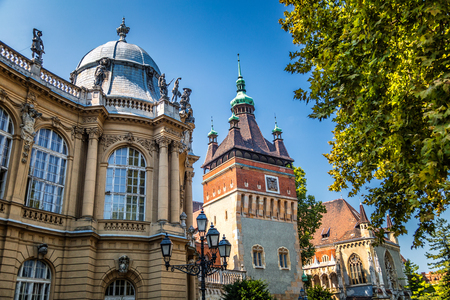 Vajdahunyad Castle in the City Park of Budapest, Hungary, Europe.