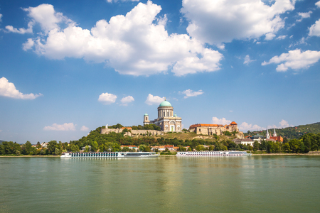 View of the Esztergom Basilica above the Danube river, Hungary, Europe.