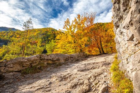 Mountain landscape in autumn sunny day. Hiking trail through Kvacianska valley, Slovakia, Europe.