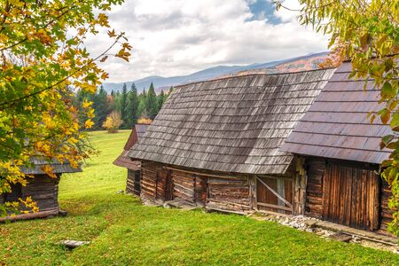 Autumn landscape with orange colored tree and wooden cottages in the Podsip settlement in north of Slovakia, Europe. Stockfoto - 132454783