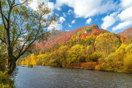 Autumn landscape with the river Vah in the north of Slovakia, Europe. Stockfoto - 132457301