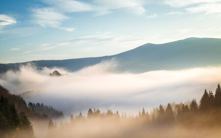 Autumn landscape, foggy morning in the region of Orava, Slovakia, Europe.