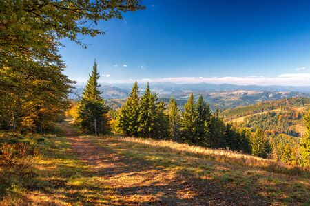 Mountain landscape with forests in autumn colors. Kysuce region in the north of Slovakia, Europe.