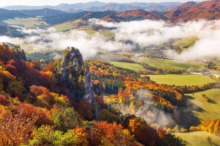 Brightly colored forests of mountain valley in the morning mist at autumn. Morning inversion in the Sulov rock mountains, Slovakia Europe.