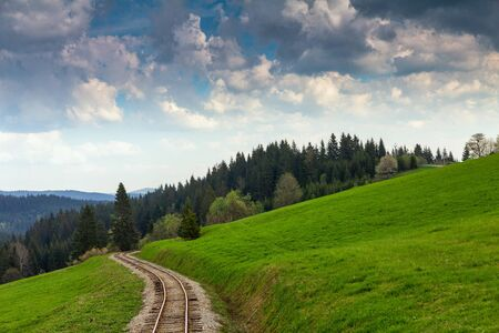 Forest railroad track in rural mountainous landscape.