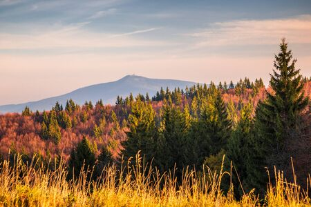 View on The Lysa hora hill, highest mountain of the Moravian-Silesian Beskids range in the Czech Republic, Europe. Stockfoto