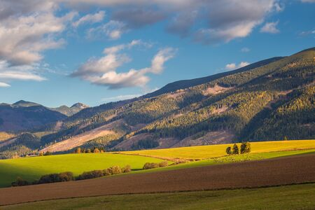 Piedmont landscape with meadows in the morning light at autumn, the area of Liptov with The Western Tatras mountains, Slovakia, Europe.