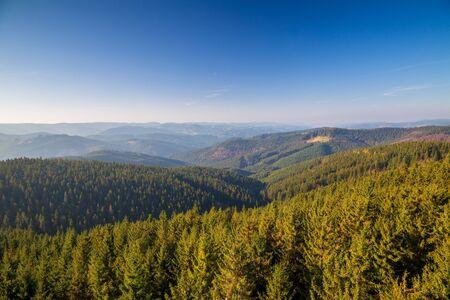 Mountainous countryside in northwest Bohemia, view of Beskydy Mountains, Czech republic, Europe. Stockfoto