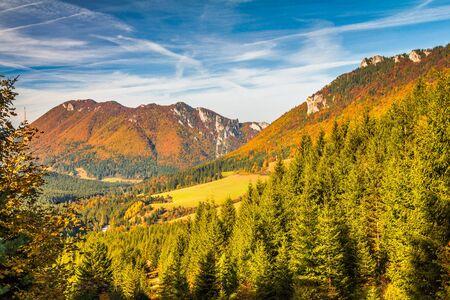 Mountain landscape at autumn season. The Vratna valley at the national park Mala Fatra, Slovakia, Europe.