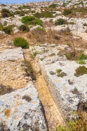Cart ruts on the Malta island, known as Misrah Ghar il-Kbir or  Clapham Junction. A complex network of tracks gouged in the rock.