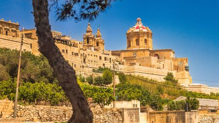 View of Mdina, a fortified medieval city in the Northern Region of Malta, Europe.