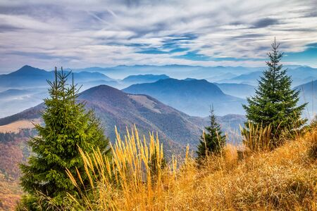 Mountain landscape at autumn season. The Vratna valley at the national park Mala Fatra, Slovakia, Europe.