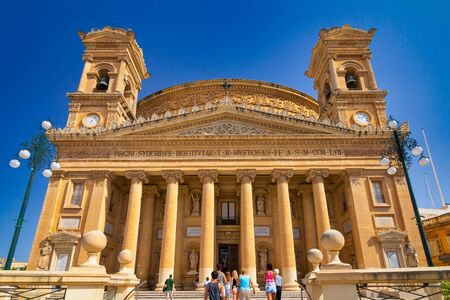 View of the Rotunda of Mosta, also known as The Mosta Dome, the Malta island, Europe.