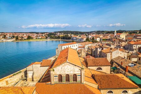 Top view on the historic center of Porec town and sea, Croatia, Europe. Stockfoto