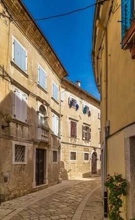 Architecture of buildings on the streets of Porec, Croatia, Europe.