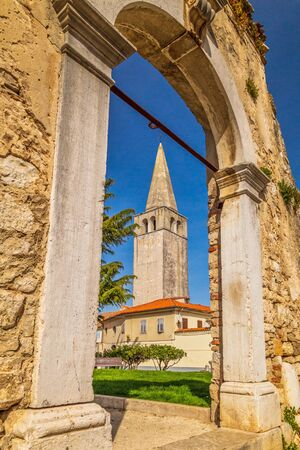 Architecture of buildings in the center of Porec town, Croatia, Europe.