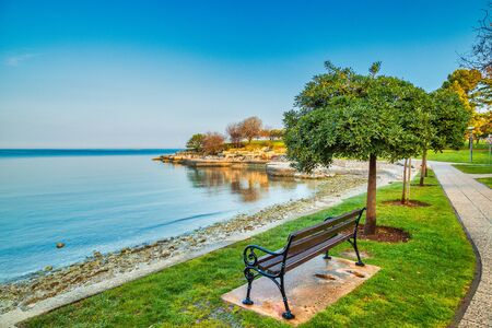 Green lagoon sea bay in Porec, bench at the tree in foreground, Croatia - Istria, Europe.