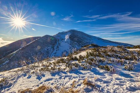 Winter mountain landscape in a sunny day. The Mala Fatra national park in Slovakia, Europe.