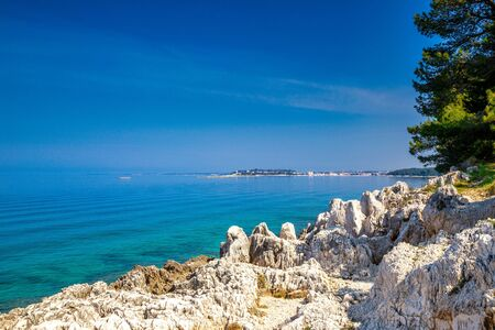 Green lagoon on the Adriatic sea near Porec town, Croatia, Europe. Stockfoto